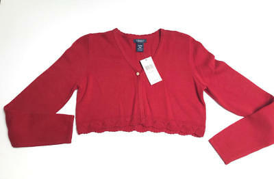 NWT Girls Chaps Red Cropped Christmas Sweater Cardigan Size XL 16 New