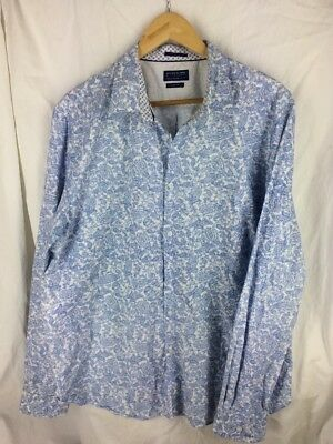 e077751d1bc DENIM   FLOWER Ricky Singh size XXL button front shirt mens paisley blue  white