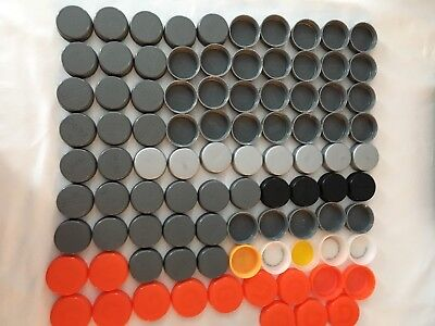 Lot Of 90 Assorted Gray & Orange Plastic Bottle Caps