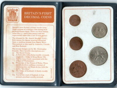 Britain's First Decimal Coins - Five Coin Set Mint Set W/ Holder & Coa Insert