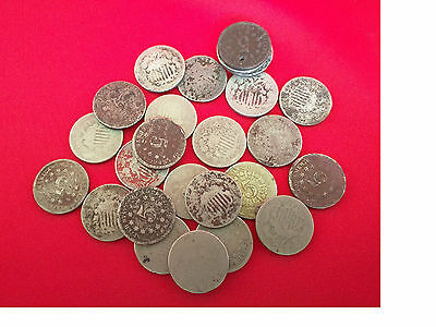 Lot of (3) Old US Shield Nickel CULL Coins / 1866-1883 / Early US Antique Money