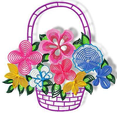 Flower Line Baskets 10 Machine Embroidery Designs Cd Includes 3 Sizes
