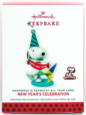 NEW YEAR'S SNOOPY 2013 2014 Hallmark Happiness is Peanuts All Year Long Ornament