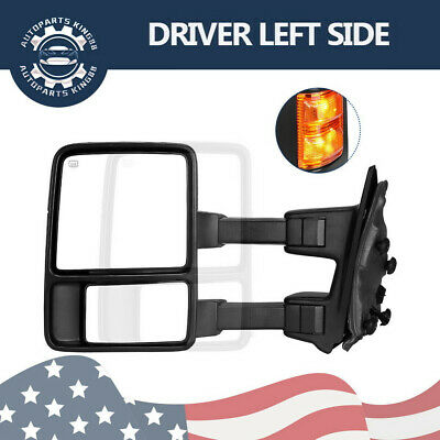Fit 08-15 Ford F250 SuperDuty Power Heated Extendable Towing Mirror Driver Left