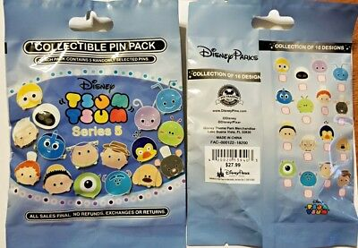 Disney Collectible Pin Pack TSUMS Series 5 Mystery Bag of 5 Pins Sealed NEW