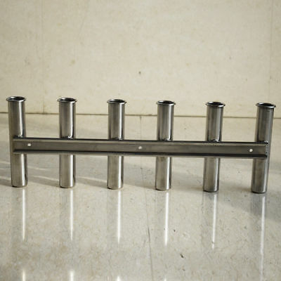 Stainless Steel 6 Link Fishing Rod Holder Side Mount 6 Tube Boat Marine Yacht