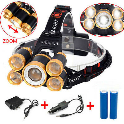 Rechargeable 80000LM 5x Zoom LED Headlamp Head Light + Battery + Charger