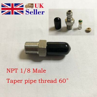 8mm Male 1/8 NPT Threaded Paintball PCP Fill Nipple Stainless Steel Taper Pipe