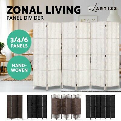 Artiss 3/4/6 Panel Room Divider Privacy Screen Stand Rattan Woven Wood Fold Var