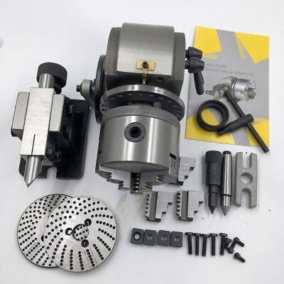 """BS-0 Precision Dividing Head With 5"""" 3-jaw Chuck & Tailstock For Milling Etc"""