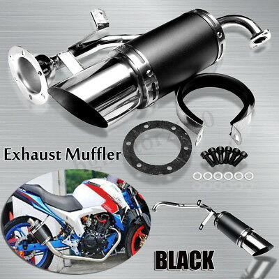 Black PERFORMANCE EXHAUST MUFFLER PIPE STAINLESS STEEL For 150CC GY6