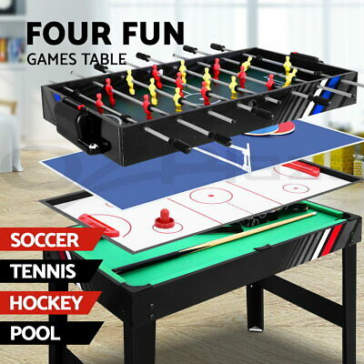 4-In-1 Soccer Table Pool Air Hockey Pool Game Foosball Football Tables Game 4FT