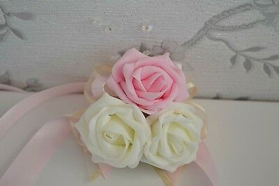 Ribbon wrist CORSAGE bridesmaid wedding pageant prom bouquet LOTS OF COLOURS