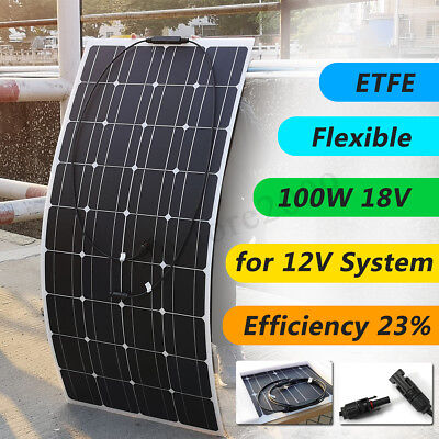 50W/100W 18V Mono Flexible ETFE Solar Panel +2M Cable Durable For 12V Car Boat
