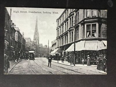 Lovely animated postcard of High Street, Dunbarton, unposted