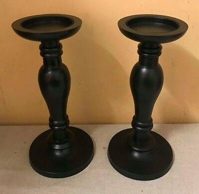 "PAIR OF BLACK WOODEN / RESIN CANDLESTICK HOLDERS 11"" TALL 80mm CANDLE GOTHIC NEW"