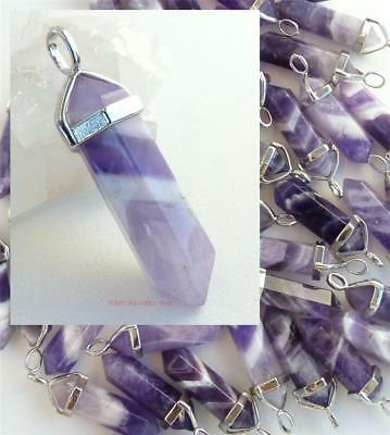 Amethyst Crystal Pendant hexagonal Point Necklace healing Chakra Reiki Jewellery