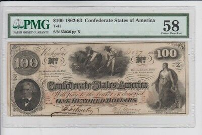 Confederate Currency Civil War era item PMG Graded Choice about unc 58