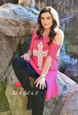 ab2773f58d04ce Plus Size Coral Lace Cross Peep Cold Shoulder Tunic Shirt 1X 2X 3X Usa True