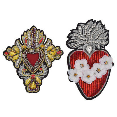 Rhinestone Heart Beaded Patches Sew On Sequin Patch For Clothing Cute Applique