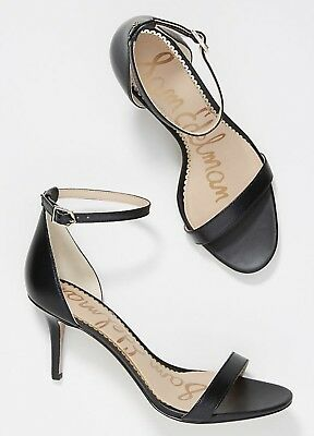 8bb32975d5481 Anthropologie Sam Edelman Patti Black Leather OpenToe Heel AnkleStrap  Sandal 8 W
