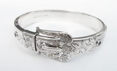 Vintage Sterling Silver Hinged Buckle Bangle H&S New Zealand Victorian Revival