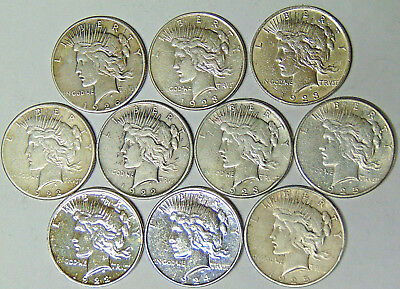 Part Set of 10 Peace Silver Dollars 1922-PDS 1923-PDS 1924 1925-PS 1926-S