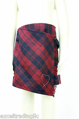 JACADI Girl's Redoute Navy Blue & Red Plaid Skirt Age: 2 Years NWT