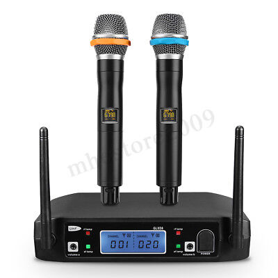 Pro Wireless UHF 2CH Microphone Amplifier System Dual Handheld Microphone W/