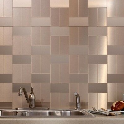 Metal Pattern Textured Glass Mosaic Tile Kitchen Backsplash Wall Self Adhesive
