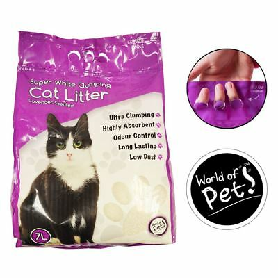 3 x 7L White Clumping Cat Litter Lavender Scented 100% Natural Hygienic Low Dust