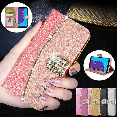 Case For Samsung Galaxy J3 J5 J4 J6 Plus Glitter Bling Leather Flip Wallet Cover