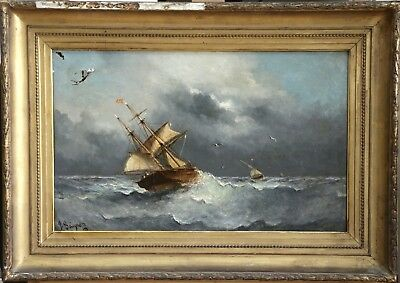 Paul Seignon (1820-1890) Large Signed French Marine Oil Boats Off Marseille