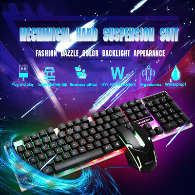 USB Backlight Light Keyboard and Mouse Set Kit for Computer PC Multimedia Gamer
