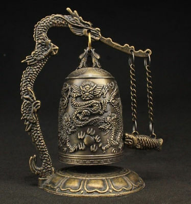 Old China Vintage Decorated Bronze Carved Dragon Wonderful Bell Statue