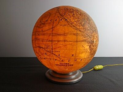 French Terrestrial Illuminated 10 Inch Globe Paris 1940's J.forest Table Globe