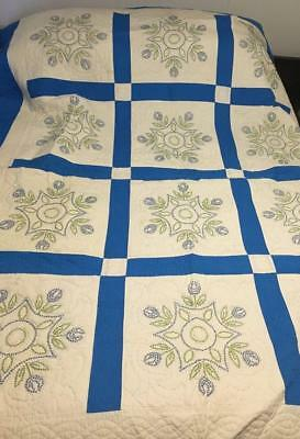 Antique 12 Panel Hand Sewn Blue & White Quilt With Stitched Flower Designs