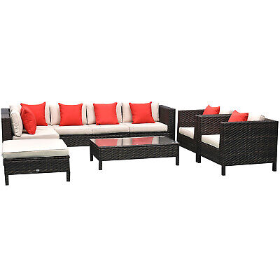 9pc Rattan Wicker Lounger Set Sectional Table Sofa Chair w/ Cushions