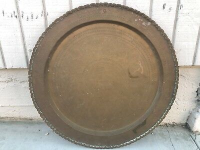 "VINTAGE CHINESE BRONZE PLATE 24"" Large CHARGER Wall Hanging Floral Bamboo Birds"