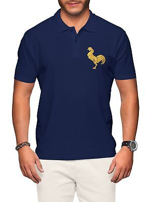 France Rugby Polo Shirt Mens Navy Badge Nations Cup French Man Clothes