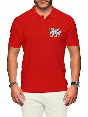 Wales Polo Shirt Men Dragon Rugby Welsh Badge Nations Cup Man