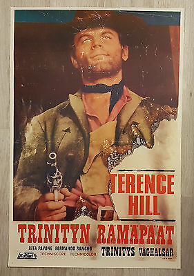 1977 Vintage Finnish Crazy Westerners Movie Poster Terence Hill Western