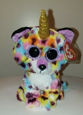 """Ty Beanie Boo 6/"""" Giselle the Uni Leopard Mint with tags NEW with Unicorn horn"""
