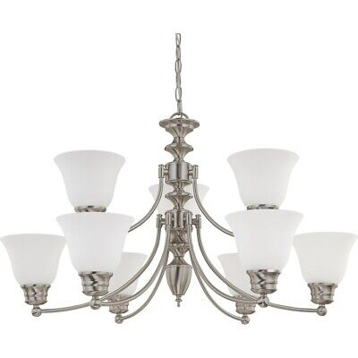 "Nuvo Empire 9 Light 32"" Chandelier w/ Frosted White Glass - 60-3256"