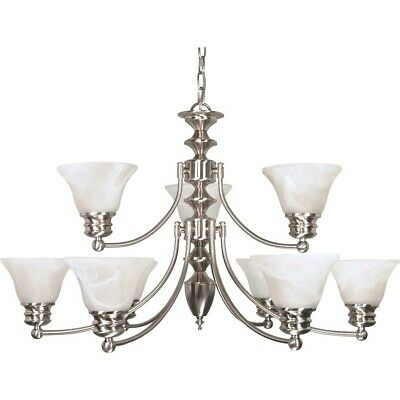 "Nuvo Empire 9 Light 32"" Chandelier w/ Glass Bell Shades - 60-360"
