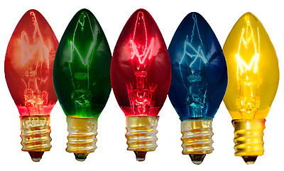 C-7 Multi-Color Clear Steady Bulbs Triple-Dipped Transparent Replacement 50/Box