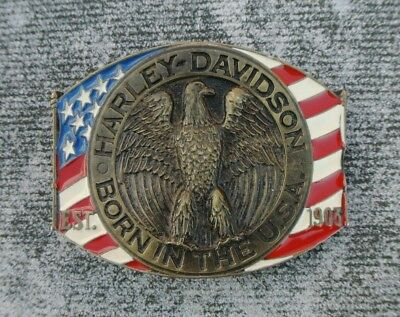 Vintage Harley Davidson Born in the USA Enamel Flag on Brass Belt Buckle