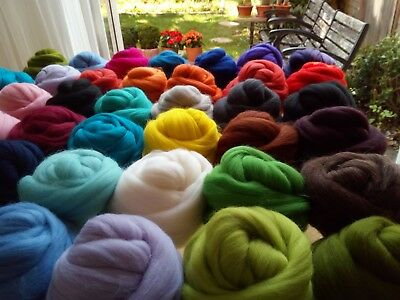 61 Colours* 100% Merino Roving Wool Tops for Needle and Wet Felting 10 - 200 g