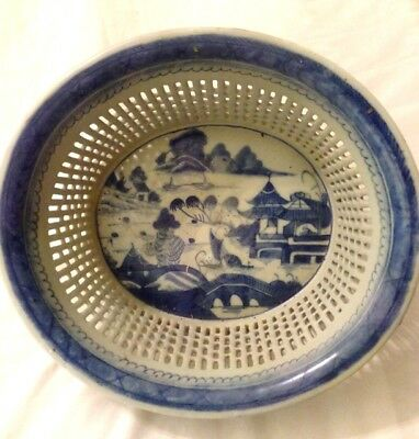 Antique Chinese Export Blue And White Canton Reticulated Chestnut Basket & Plate