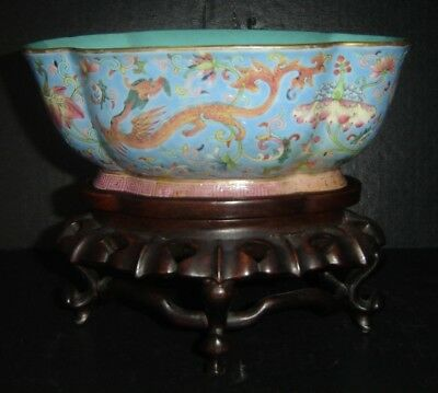 Antique Chinese Qing Daoguang Nian Zhi Mark Famille Rose Bowl Chilong Dragons.